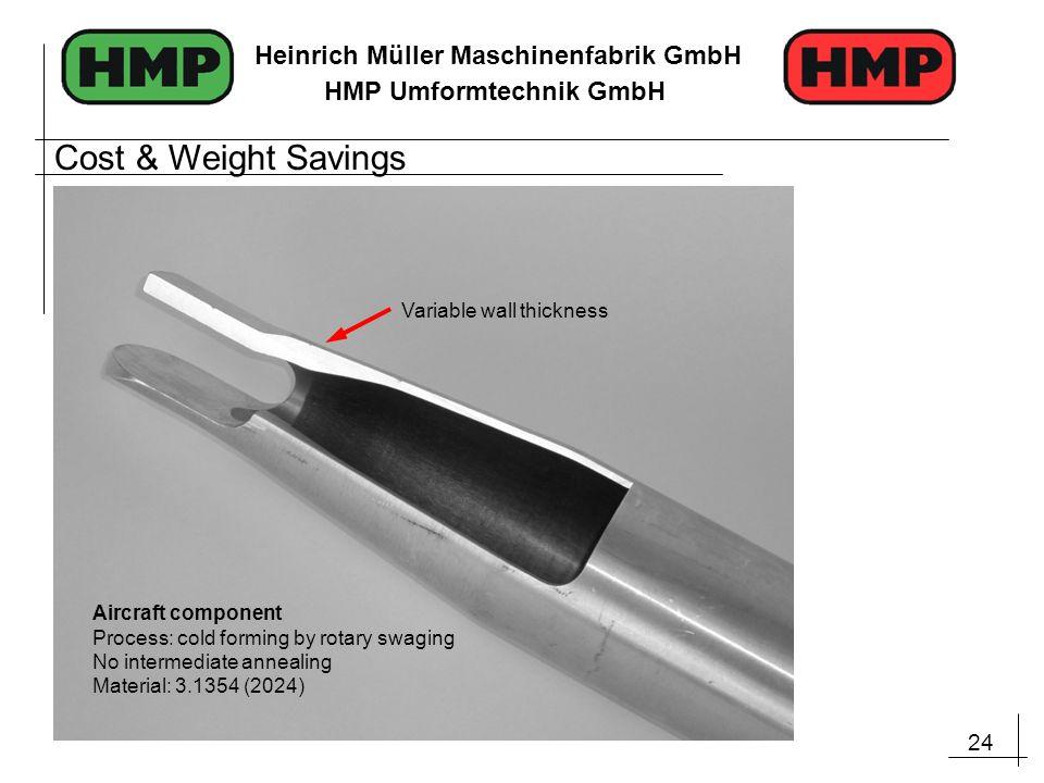 24 Heinrich Müller Maschinenfabrik GmbH HMP Umformtechnik GmbH Aircraft component Process: cold forming by rotary swaging No intermediate annealing Ma
