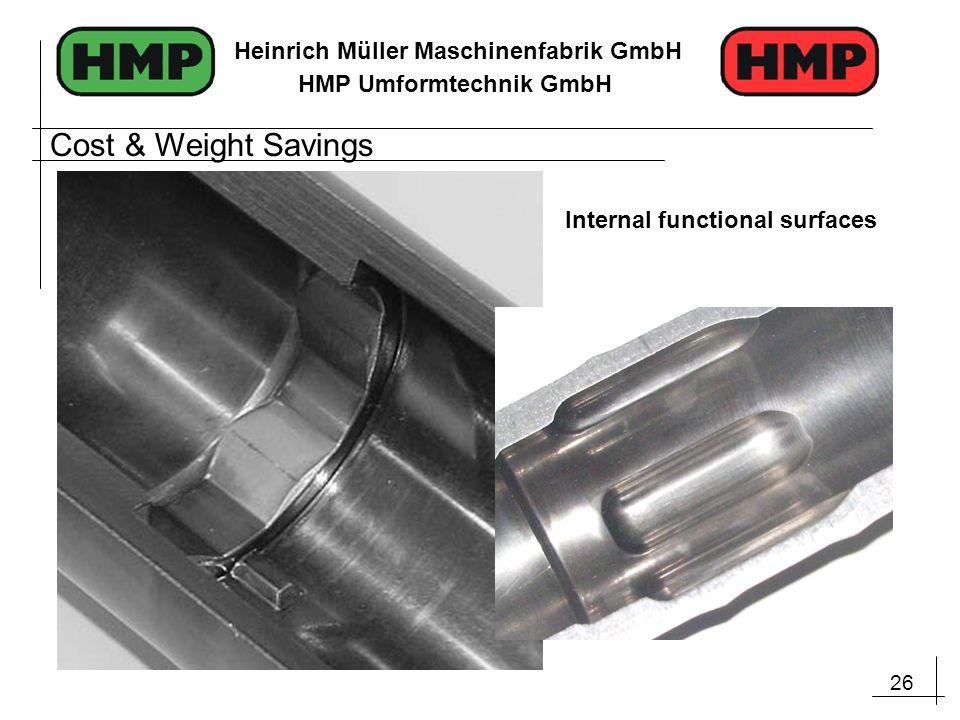 26 Heinrich Müller Maschinenfabrik GmbH HMP Umformtechnik GmbH Internal functional surfaces Cost & Weight Savings