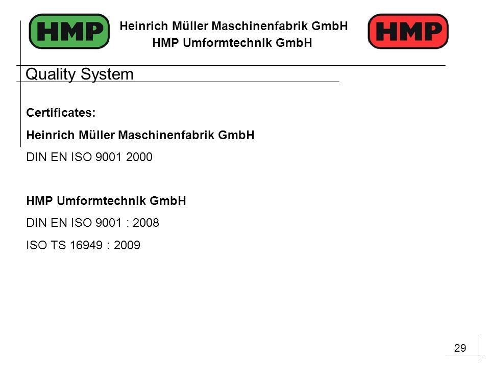 29 Heinrich Müller Maschinenfabrik GmbH HMP Umformtechnik GmbH Certificates: Heinrich Müller Maschinenfabrik GmbH DIN EN ISO 9001 2000 HMP Umformtechn