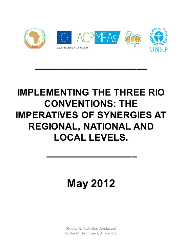 _____________________ IMPLEMENTING THE THREE RIO CONVENTIONS: THE IMPERATIVES OF SYNERGIES AT REGIONAL, NATIONAL AND LOCAL LEVELS. _________________ M