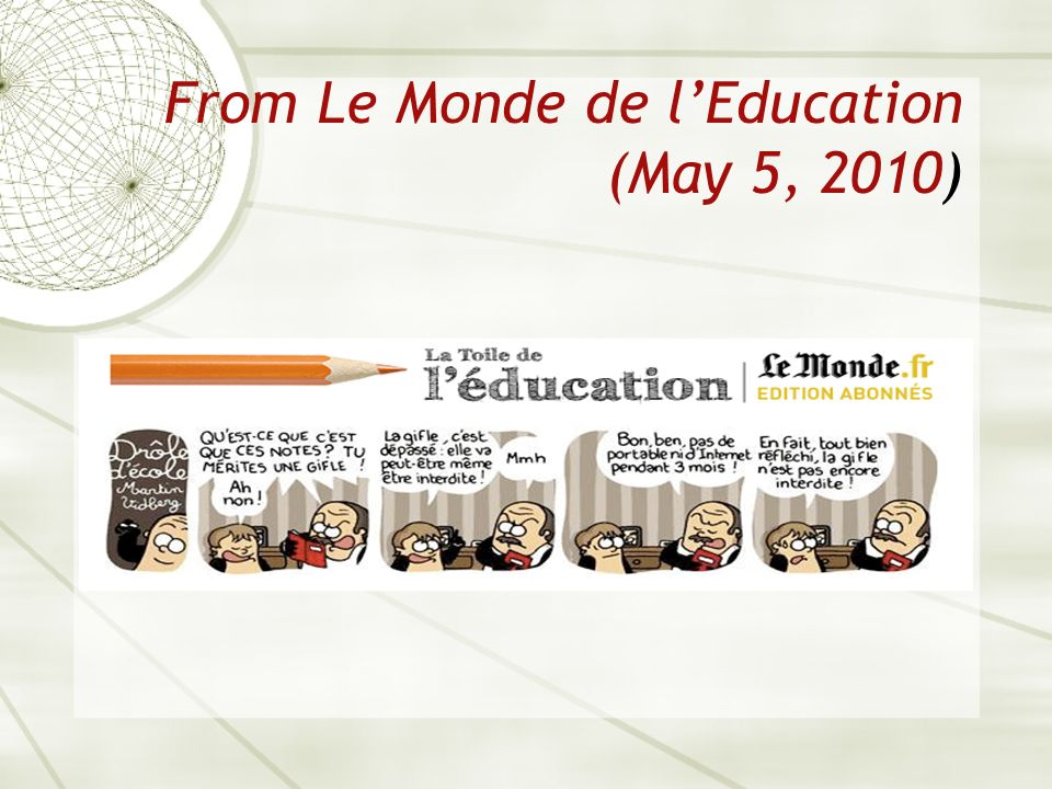 From Le Monde de lEducation (May 5, 2010)