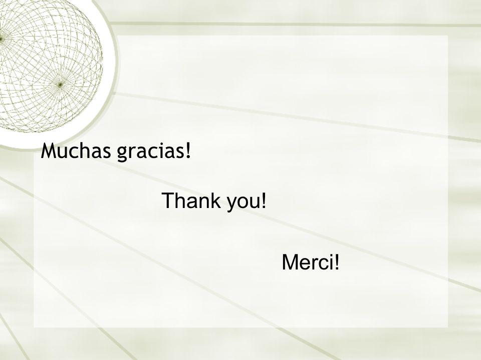Muchas gracias! Thank you! Merci!