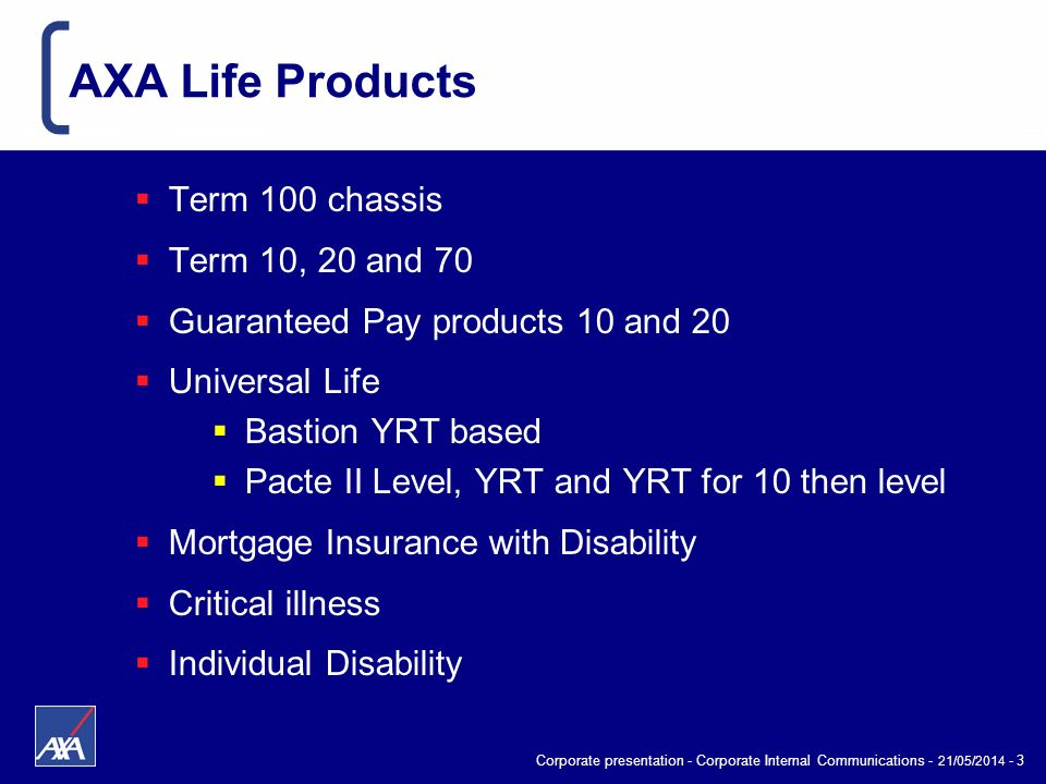 Corporate presentation - Corporate Internal Communications - 21/05/2014 - 3 AXA Life Products Term 100 chassis Term 10, 20 and 70 Guaranteed Pay produ