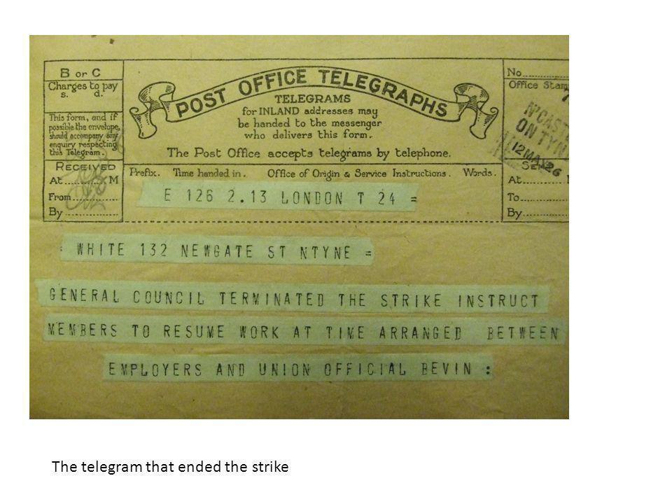 The telegram that ended the strike