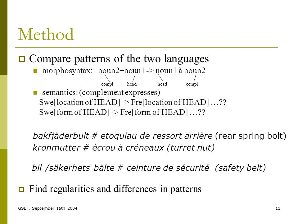 GSLT, September 15th 200411 Method Compare patterns of the two languages morphosyntax: noun2+noun1 -> noun1 à noun2 compl head head compl semantics: (complement expresses) Swe[location of HEAD] -> Fre[location of HEAD] … .