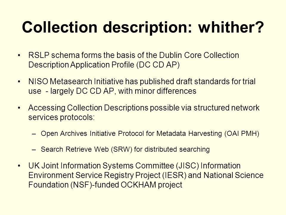 Collection description: whither.