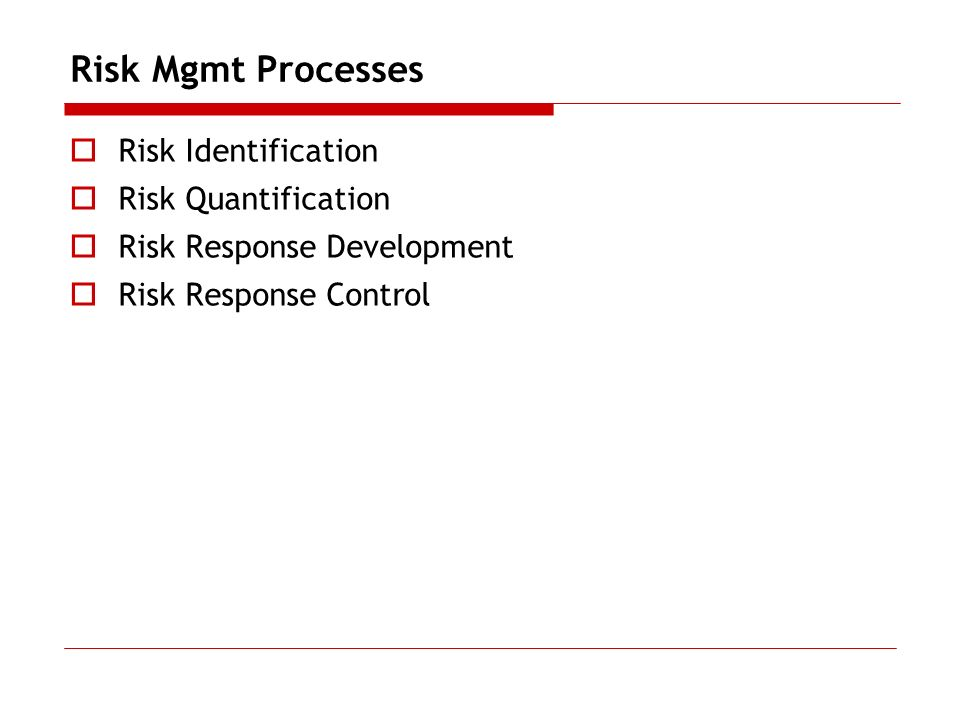 Risk Mgmt Processes Risk Identification Risk Quantification Risk Response Development Risk Response Control