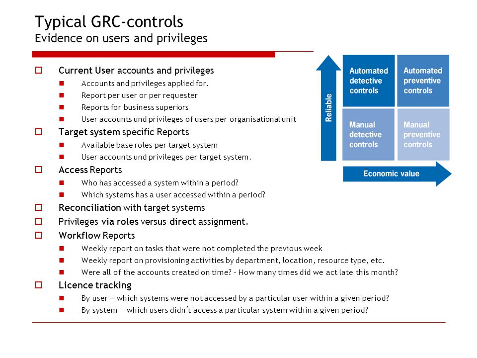 Typical GRC-controls Evidence on users and privileges Current User accounts and privileges Accounts and privileges applied for. Report per user or per