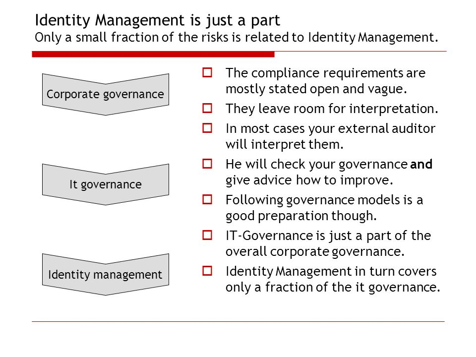 Identity Management is just a part Only a small fraction of the risks is related to Identity Management.
