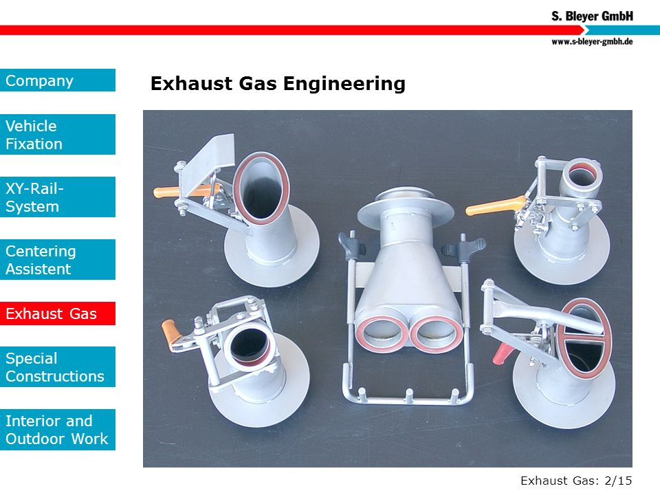 Exhaust Gas: 2/15 Exhaust Gas Engineering Company Vehicle Fixation XY-Rail- System Centering Assistent Exhaust Gas Special Constructions Interior and