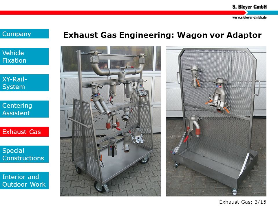 Exhaust Gas: 3/15 Exhaust Gas Engineering: Wagon vor Adaptor Company Vehicle Fixation XY-Rail- System Centering Assistent Exhaust Gas Special Construc