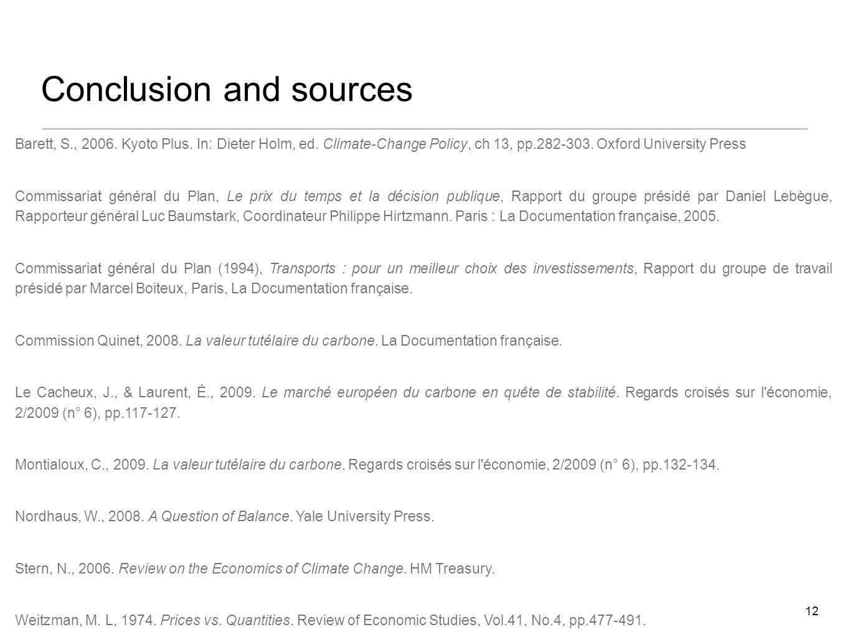 Conclusion and sources 12 Barett, S., 2006. Kyoto Plus.