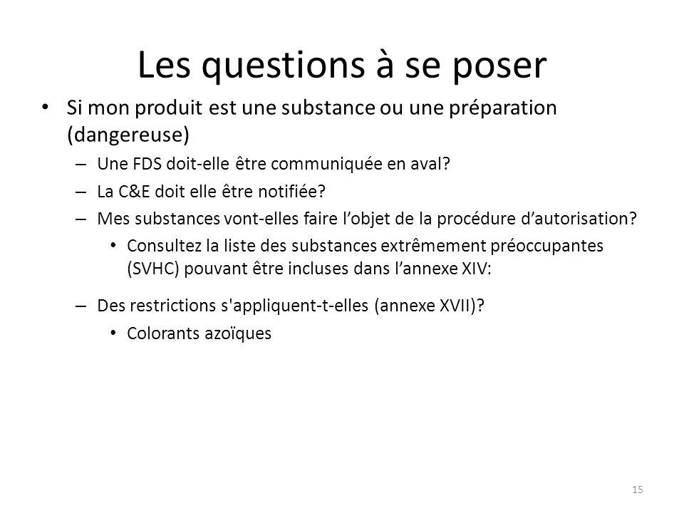 15 Les questions à se poser Si mon produit est une substance ou une préparation (dangereuse) – Une FDS doit-elle être communiquée en aval.