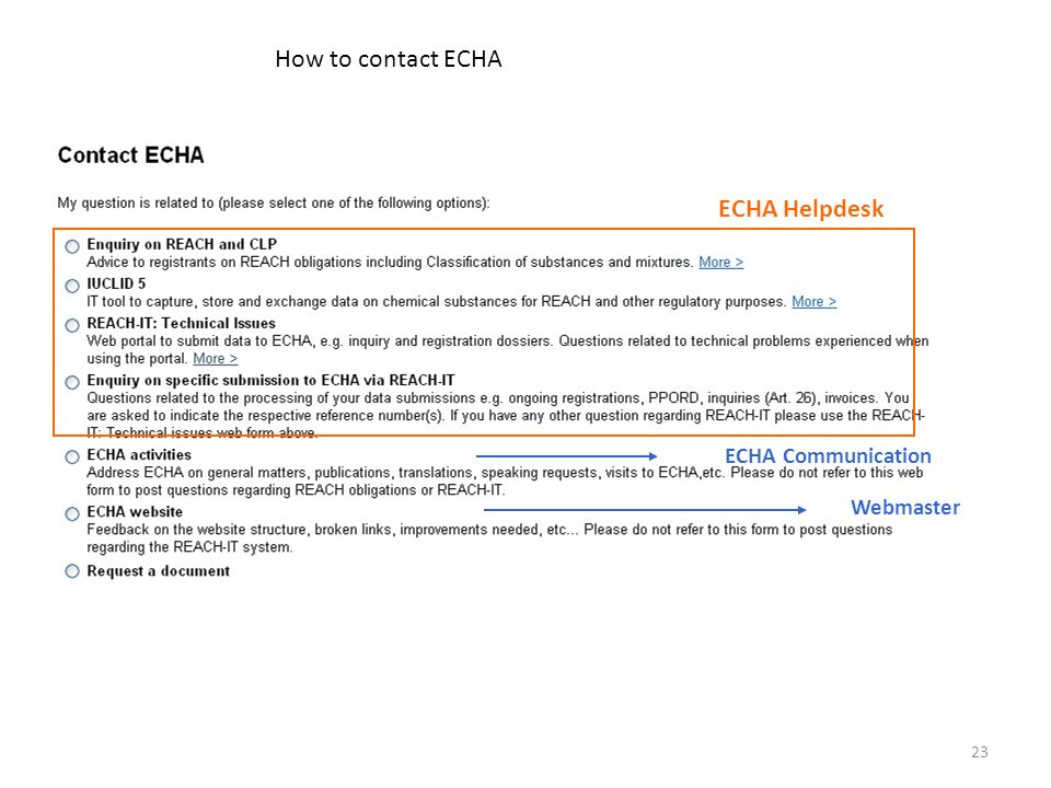 23 How to contact ECHA Webmaster ECHA Communication ECHA Helpdesk