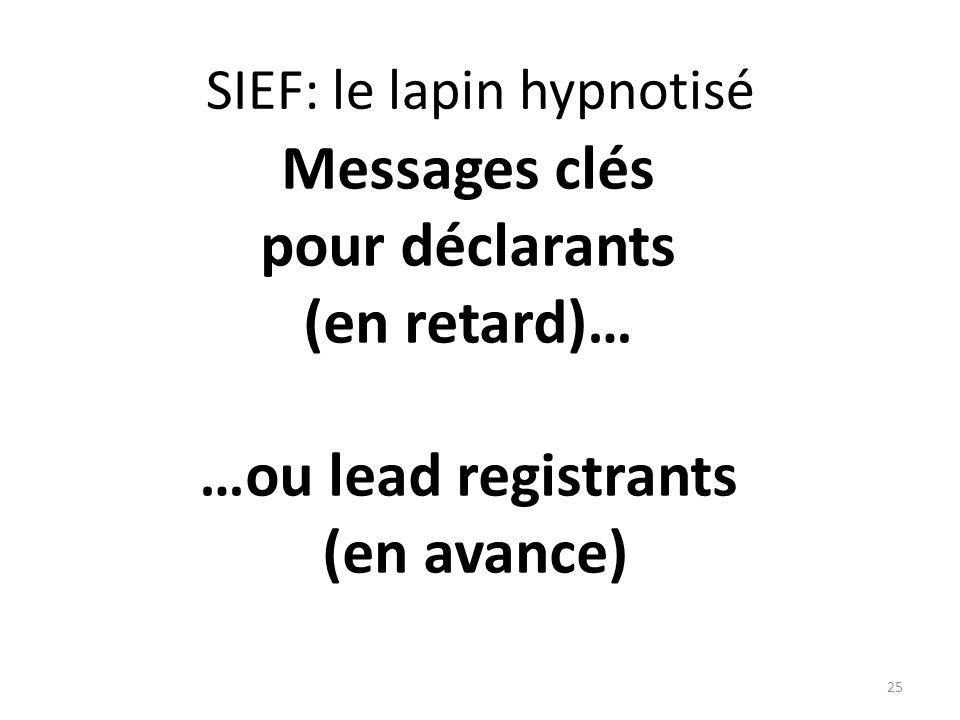 25 Messages clés pour déclarants (en retard)… …ou lead registrants (en avance) SIEF: le lapin hypnotisé