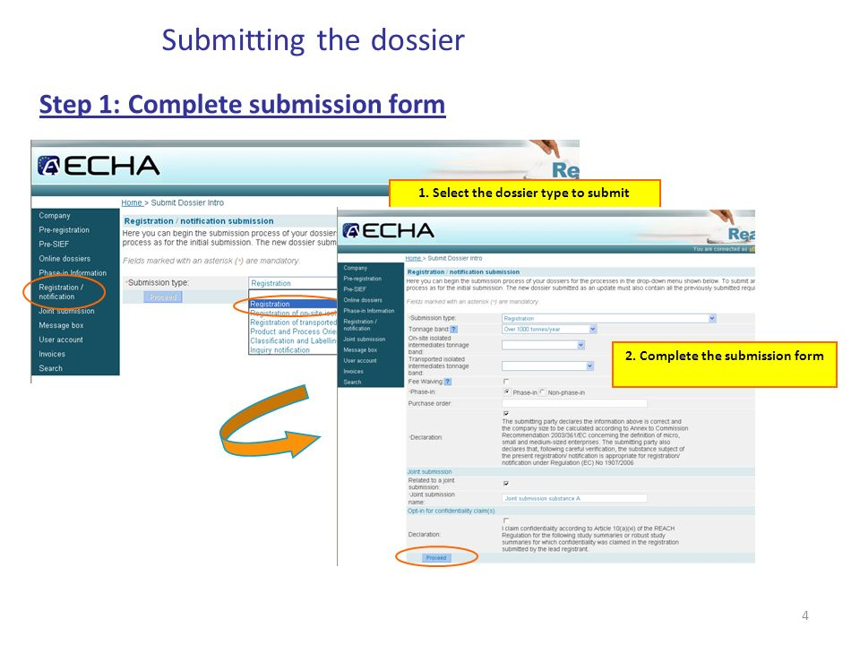 4 Step 1: Complete submission form Submitting the dossier 1.