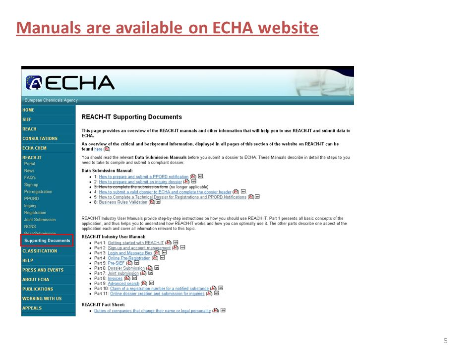 5 Manuals are available on ECHA website