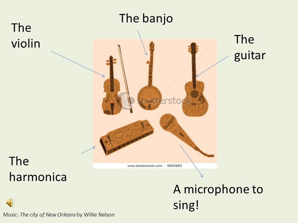 The violin The guitar The banjo The harmonica A microphone to sing! Music: The city of New Orleans by Willie Nelson