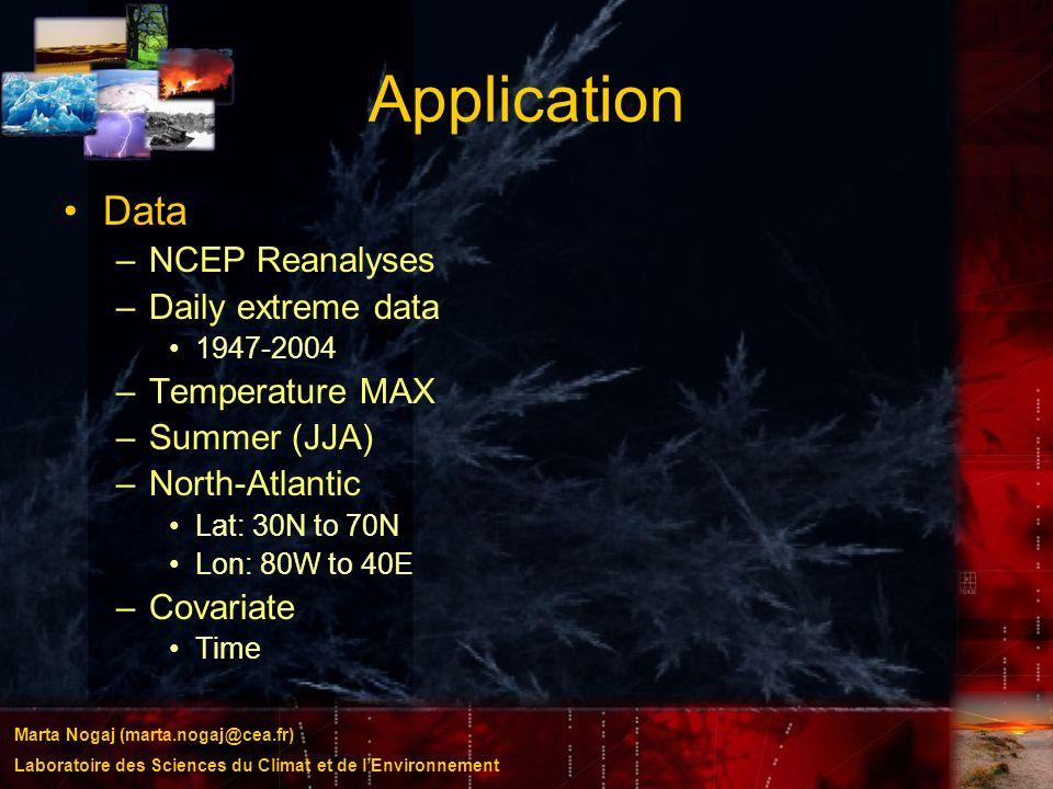 Marta Nogaj (marta.nogaj@cea.fr) Laboratoire des Sciences du Climat et de lEnvironnement Application Data –NCEP Reanalyses –Daily extreme data 1947-20