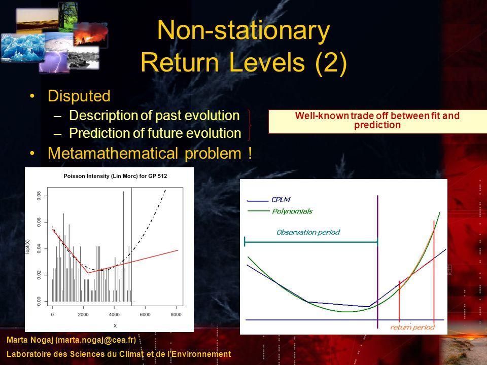 Marta Nogaj (marta.nogaj@cea.fr) Laboratoire des Sciences du Climat et de lEnvironnement Non-stationary Return Levels (2) Disputed –Description of pas