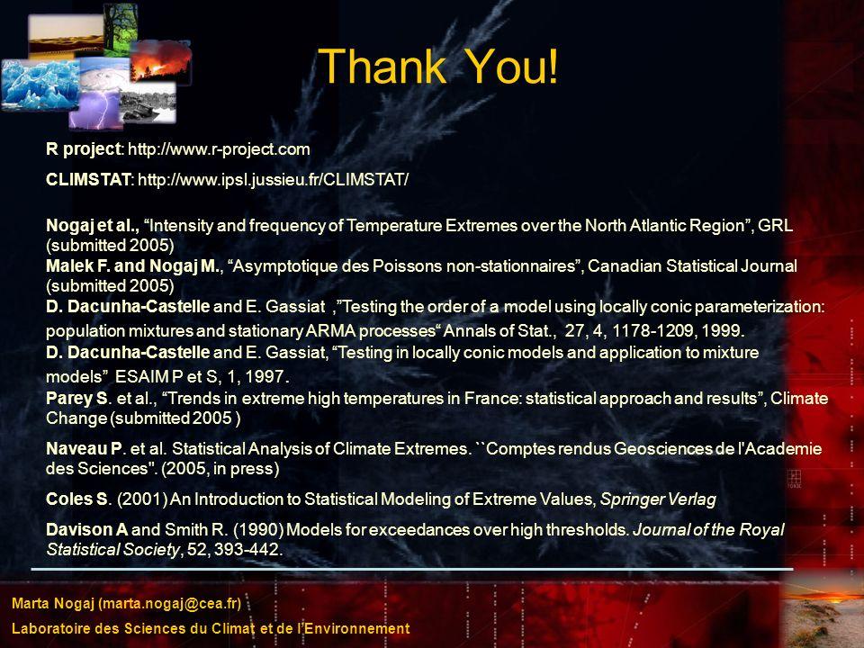 Marta Nogaj (marta.nogaj@cea.fr) Laboratoire des Sciences du Climat et de lEnvironnement Thank You! R project: http://www.r-project.com CLIMSTAT: http