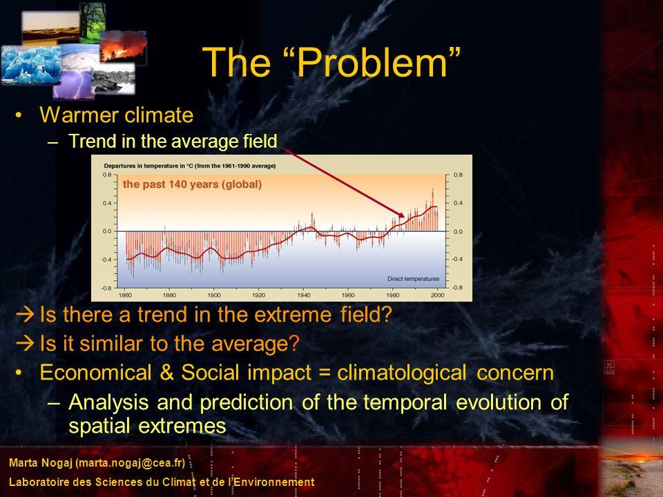 Marta Nogaj (marta.nogaj@cea.fr) Laboratoire des Sciences du Climat et de lEnvironnement The Problem Warmer climate –Trend in the average field Is the