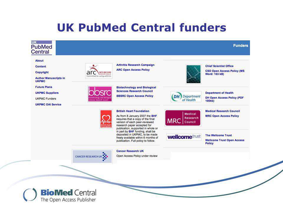 UK PubMed Central funders