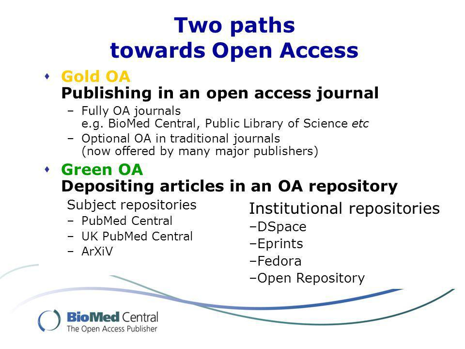 Two paths towards Open Access Gold OA Publishing in an open access journal –Fully OA journals e.g.