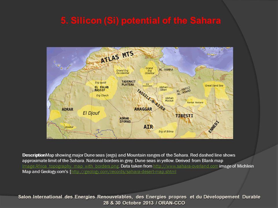 DescriptionMap showing major Dune seas (ergs) and Mountain ranges of the Sahara.
