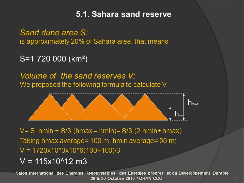 Sand dune area S: is approximately 20% of Sahara area, that means S=1 720 000 (km²) Volume of the sand reserves V: We proposed the following formula t