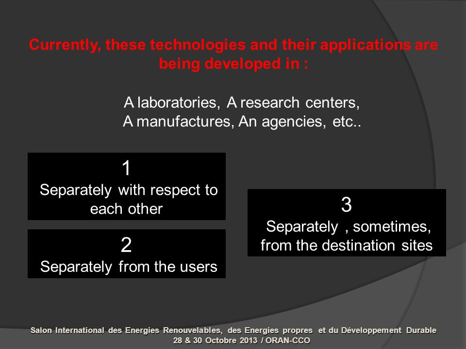 Currently, these technologies and their applications are being developed in : A laboratories, A research centers, A manufactures, An agencies, etc..