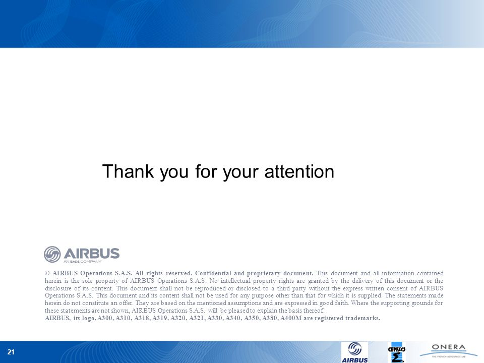 21 © AIRBUS Operations S.A.S. All rights reserved. Confidential and proprietary document. This document and all information contained herein is the so