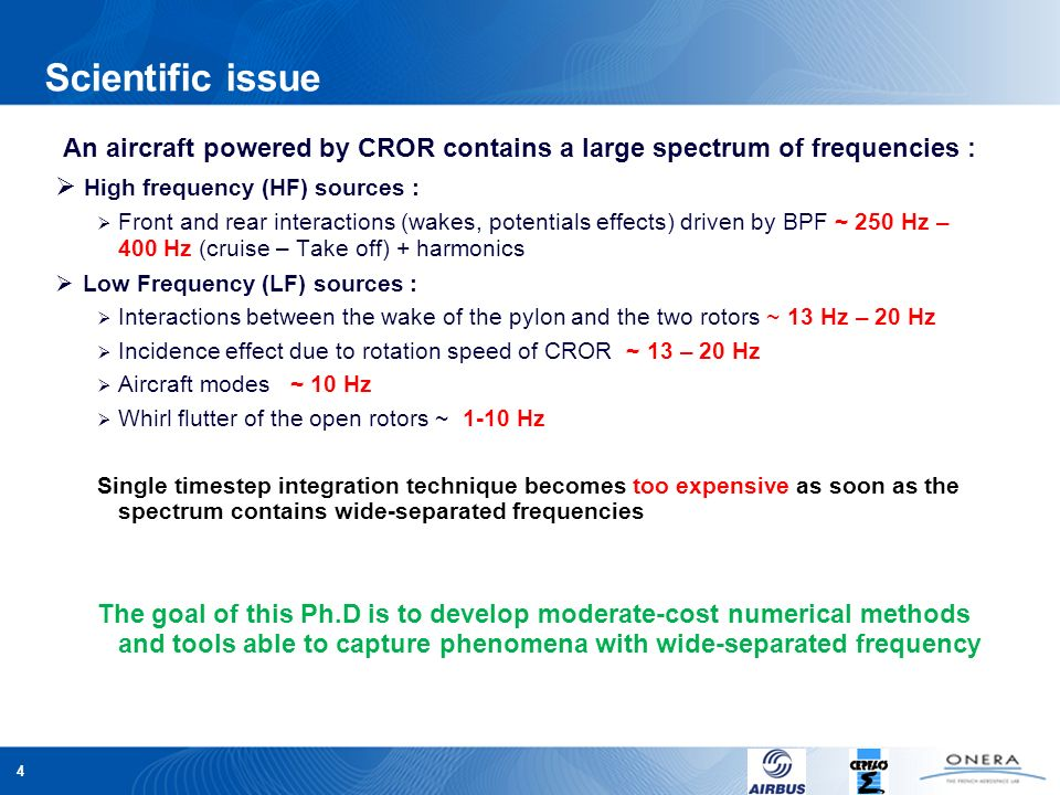 4 Scientific issue An aircraft powered by CROR contains a large spectrum of frequencies : High frequency (HF) sources : Front and rear interactions (w