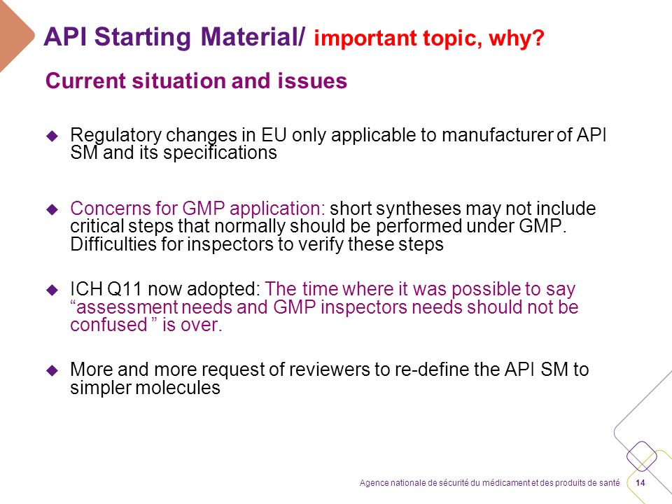 14Agence nationale de sécurité du médicament et des produits de santé API Starting Material/ important topic, why? Current situation and issues u Regu