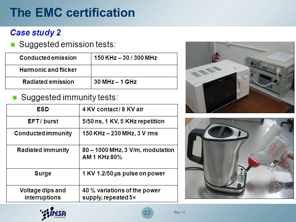 22 Case study 2 The EMC certification Suggested emission tests: Conducted emission150 KHz – 30 / 300 MHz Harmonic and flicker Radiated emission30 MHz
