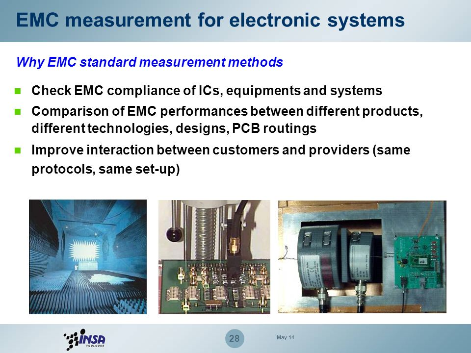 28 Why EMC standard measurement methods Check EMC compliance of ICs, equipments and systems Comparison of EMC performances between different products,