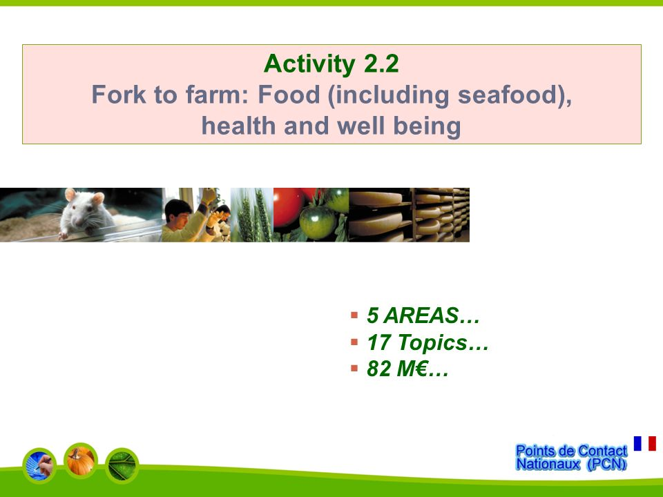 Activity 2.2 Fork to farm: Food (including seafood), health and well being 5 AREAS… 17 Topics… 82 M…