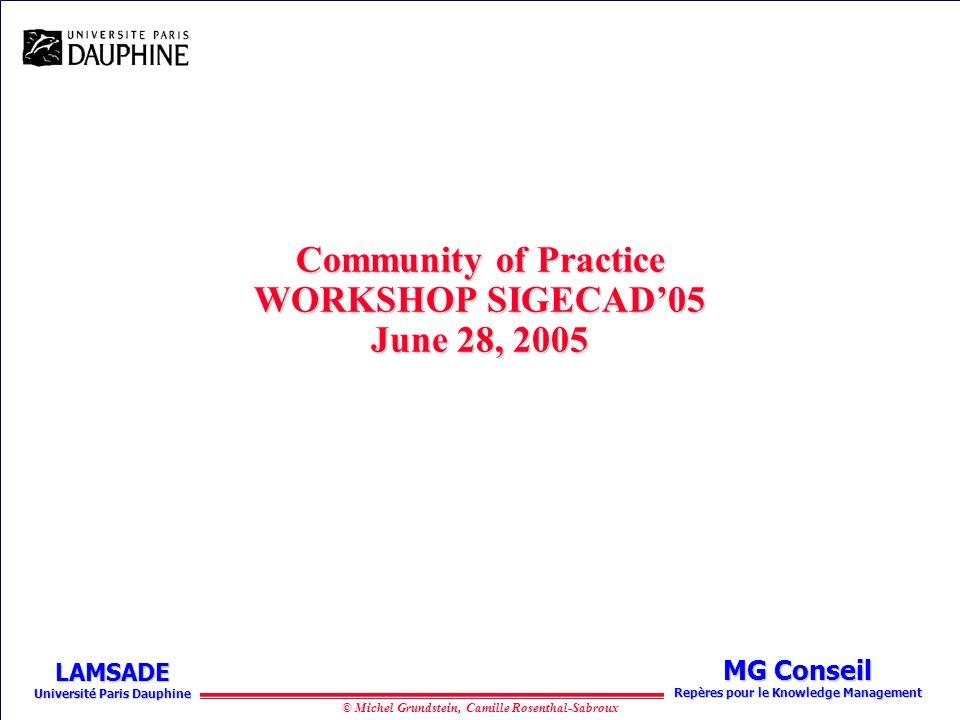© Michel Grundstein, Camille Rosenthal-Sabroux MG Conseil Repères pour le Knowledge Management LAMSADE Université Paris Dauphine Community of Practice WORKSHOP SIGECAD05 June 28, 2005