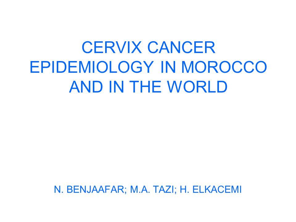 Data from population registries Cumulative risk 0-74 years Rabat : 1.9% Casablanca: 1.5% Pathology Rabat: SCC: 90.2%, Adenocarc: 7.8% Casablanca: SCC: 79%, Adenocarc: 4.7%
