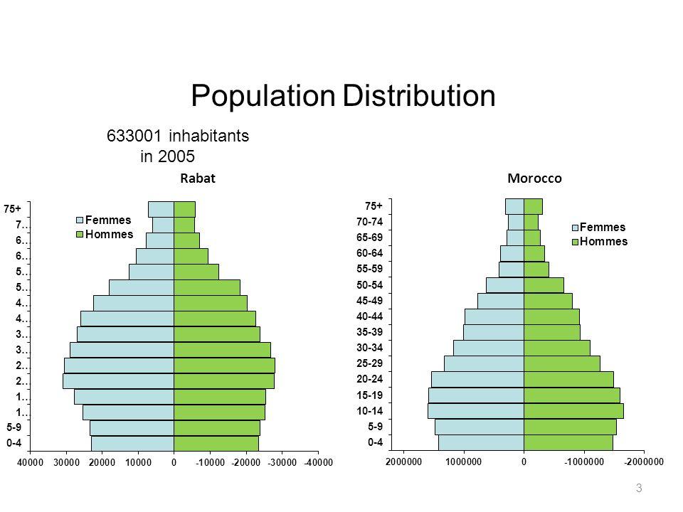 Population Distribution Rabat Morocco 3 633001 inhabitants in 2005