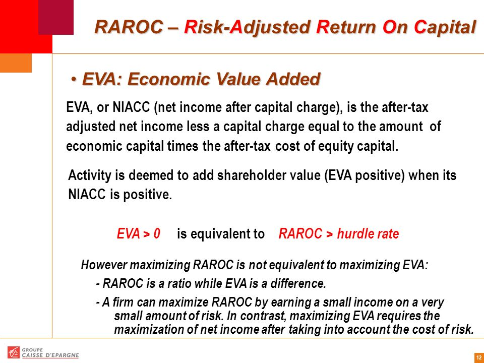 12 RAROC – Risk-Adjusted Return On Capital EVA: Economic Value Added EVA: Economic Value Added EVA, or NIACC (net income after capital charge), is the