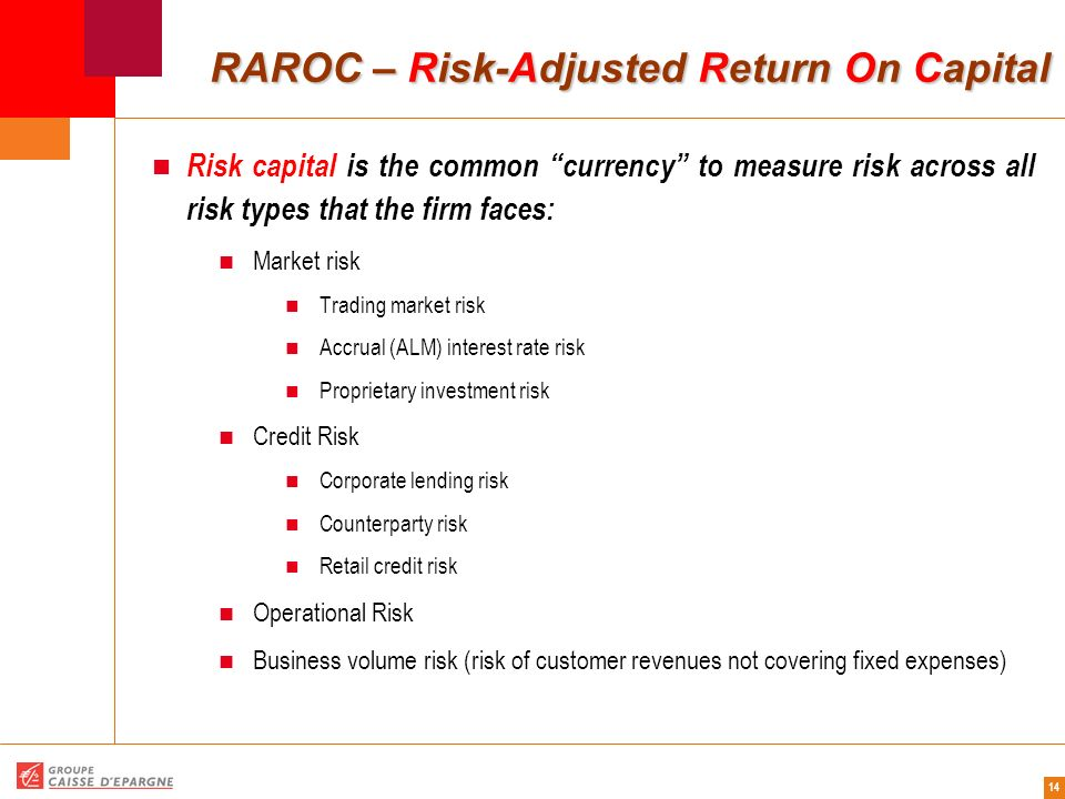 14 RAROC – Risk-Adjusted Return On Capital RAROC – Risk-Adjusted Return On Capital Risk capital is the common currency to measure risk across all risk