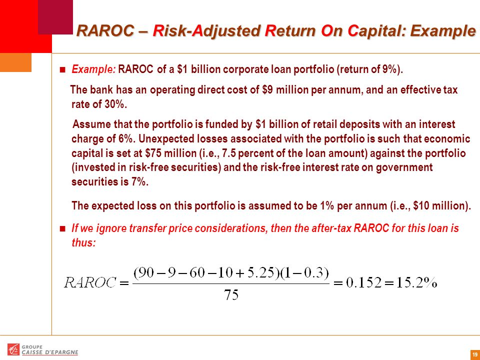19 RAROC – Risk-Adjusted Return On Capital: Example Example: RAROC of a $1 billion corporate loan portfolio (return of 9%). The bank has an operating