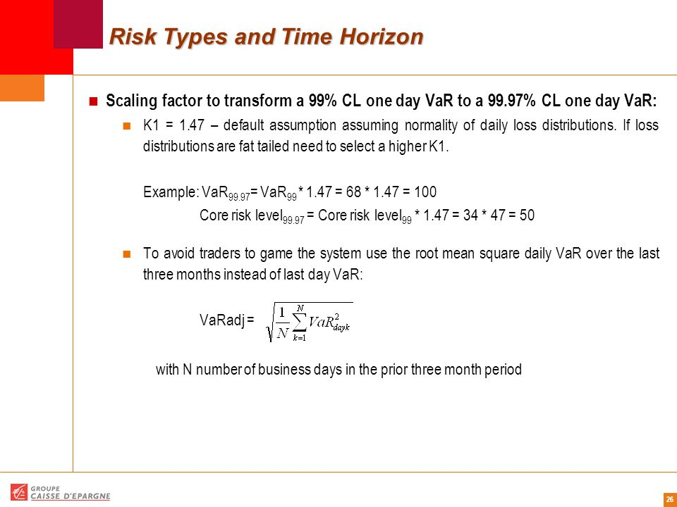26 Risk Types and Time Horizon Scaling factor to transform a 99% CL one day VaR to a 99.97% CL one day VaR: K1 = 1.47 – default assumption assuming no
