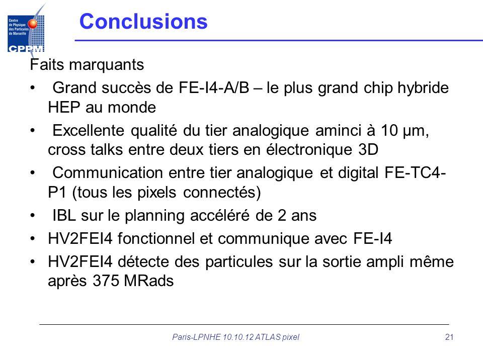 Paris-LPNHE 10.10.12 ATLAS pixel21 Conclusions Faits marquants Grand succès de FE-I4-A/B – le plus grand chip hybride HEP au monde Excellente qualité