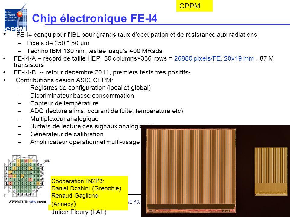 Chip électronique FE-I4 FE-I4 conçu pour l'IBL pour grands taux d'occupation et de résistance aux radiations –Pixels de 250 * 50 µm –Techno IBM 130 nm