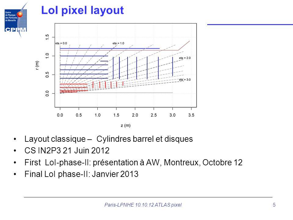 LoI pixel layout Layout classique – Cylindres barrel et disques CS IN2P3 21 Juin 2012 First LoI-phase-II: présentation à AW, Montreux, Octobre 12 Fina