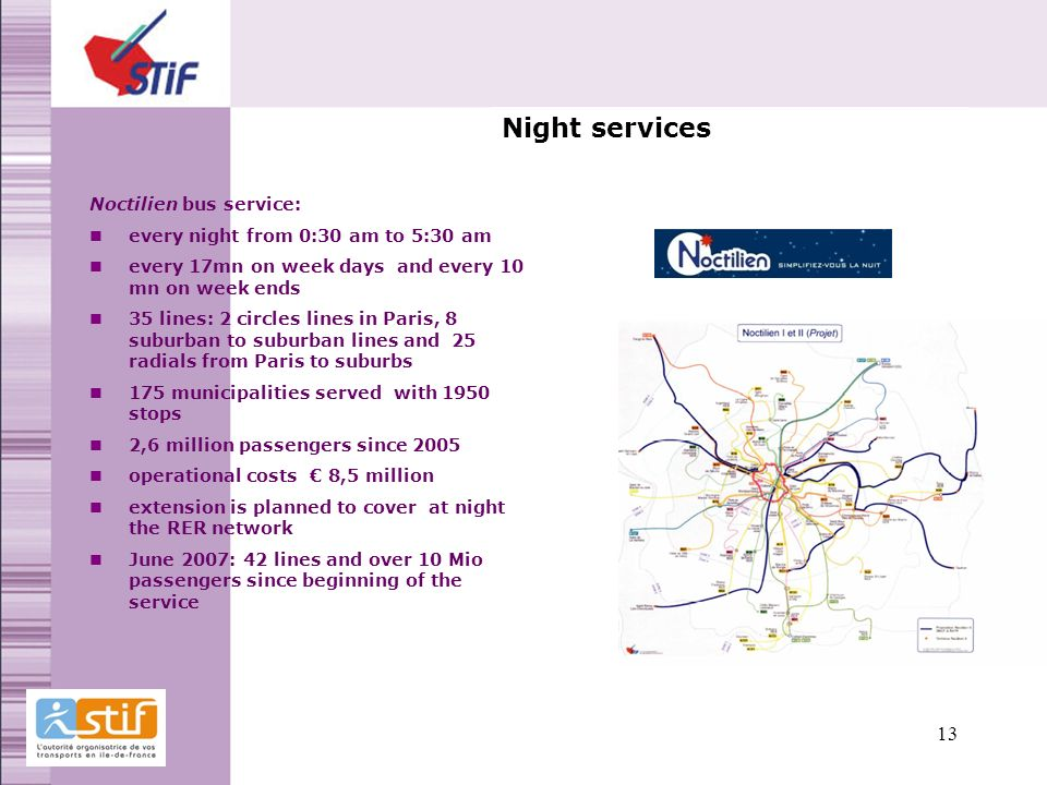 Night services Noctilien bus service: every night from 0:30 am to 5:30 am every 17mn on week days and every 10 mn on week ends 35 lines: 2 circles lines in Paris, 8 suburban to suburban lines and 25 radials from Paris to suburbs 175 municipalities served with 1950 stops 2,6 million passengers since 2005 operational costs 8,5 million extension is planned to cover at night the RER network June 2007: 42 lines and over 10 Mio passengers since beginning of the service 13