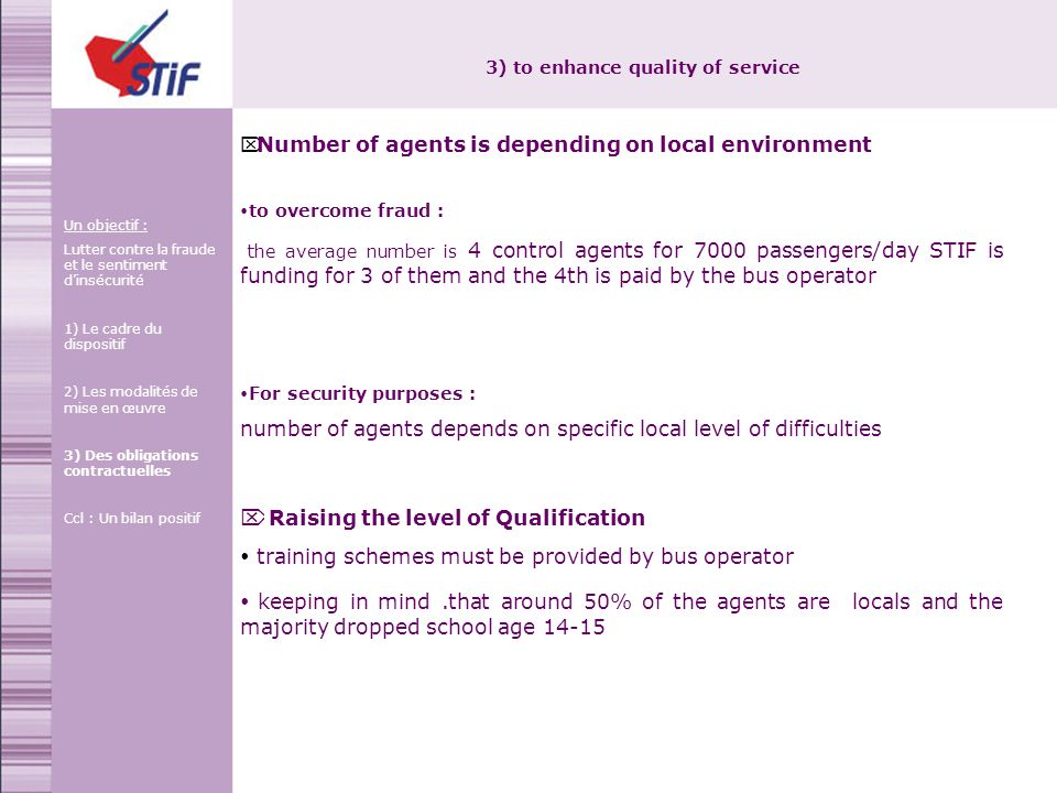3) to enhance quality of service Number of agents is depending on local environment to overcome fraud : the average number is 4 control agents for 7000 passengers/day STIF is funding for 3 of them and the 4th is paid by the bus operator For security purposes : number of agents depends on specific local level of difficulties Raising the level of Qualification training schemes must be provided by bus operator keeping in mind.that around 50% of the agents are locals and the majority dropped school age 14-15 Un objectif : Lutter contre la fraude et le sentiment dinsécurité 1) Le cadre du dispositif 2) Les modalités de mise en œuvre 3) Des obligations contractuelles Ccl : Un bilan positif