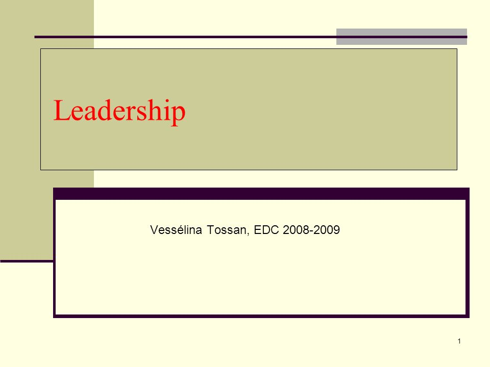 1 Leadership Vessélina Tossan, EDC 2008-2009